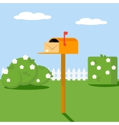 Open the mailbox with a letter set on a green lawn vector image