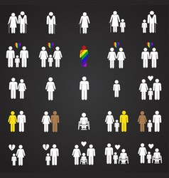 People gender race orientation age set on black vector
