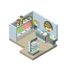 pets shop interior isometric shopping house vector image
