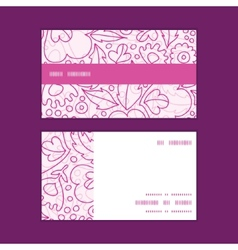 Pink flowers lineart horizontal stripe frame vector