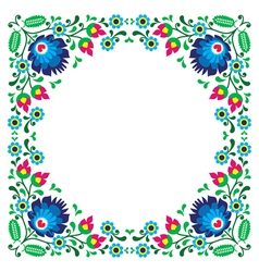 Polish floral folk embroidery frame pattern vector image