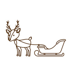 Reindeer with sledge isolated icon vector