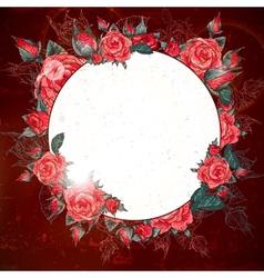 Romantic Vintage Rose Frame vector image