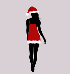santa woman silhouette vector image