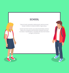 School pupils cartoon characters place for text vector