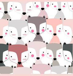 Seamless pattern cute fox facecute animal cartoon vector