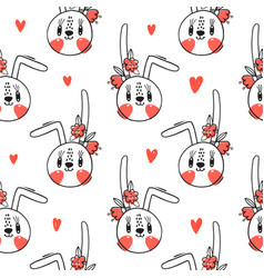 seamless pattern with cute rabbit face with a vector image
