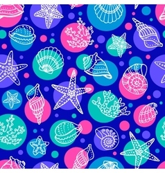 Seamless pattern with doodle seashells vector