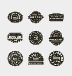 Set burger logos retro styled fast food vector