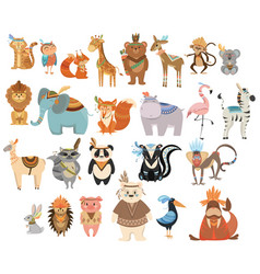 Set cute animals indians collection animals vector