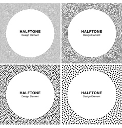 Set of Abstract Halftone Dots Frame Backgrounds vector image
