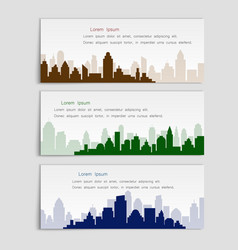 set of banners with city silhouettesflat style vector image