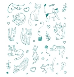 Set of hand drawn cats Blue silhouettes on white vector