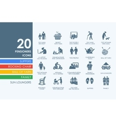 Set of pensioners icons vector