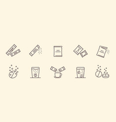 Set packing line icons vector