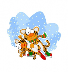 skating tigers vector image