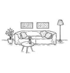 sketch living room sofa lamp and pictures on vector image