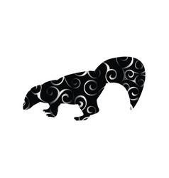 skunk mammal color silhouette animal vector image