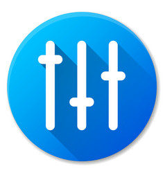 Sliders blue circle icon vector