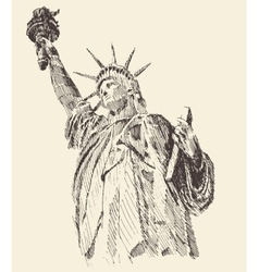 statue liberty hand drawn engraved sketch vector image