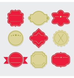Stylish red and green empty template labels set vector image