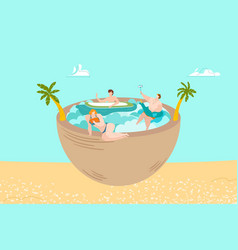 summer vacation on sea beach people swimming and vector image