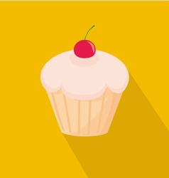 Sweet cherry cupcake flat icon on yellow backgroun vector image