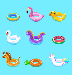 Swimming rings inflatable float buoy kid toys vector