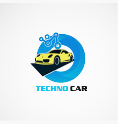 Techno car with circle blue for technology logo vector