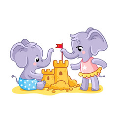 the elephants are playing on beach in sand vector image