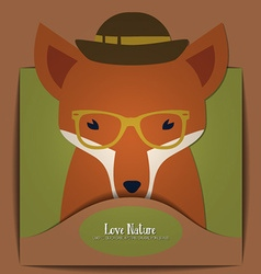 With nature and hipster fox vector
