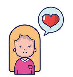 woman with hairstyle design and heart inside chat vector image