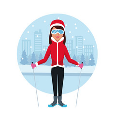 woman with skis vector image