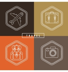 flat travel badges in outline style vector image