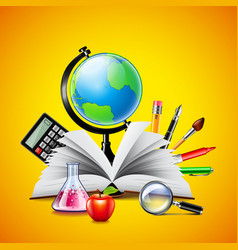 School concept with opened book and tools on vector image