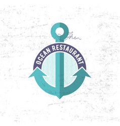 sea restaurant logo anchor ribbon vector image