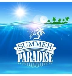 Summer paradise banner Ocean palms island vector image