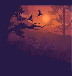 sunrise forest landscape background vector image vector image