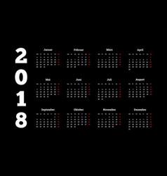 2018 year simple white calendar on german language vector image