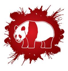 cartoon fat panda standing side view vector image vector image