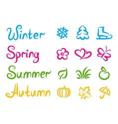Handwritten names and symbols of four seasons vector image vector image