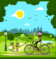 man on bicycle in city park with people and dog vector image