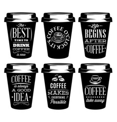 monochrome set of patterns for paper cups for vector image vector image