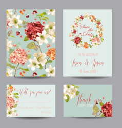 Autumn vintage hortensia flowers card for wedding vector
