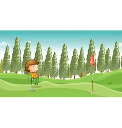 boy playing golf vector image vector image