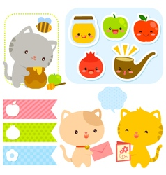cute set for Rosh Hashanah vector image vector image