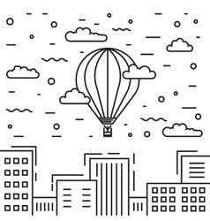 Dirigible and hot air balloons airship vector