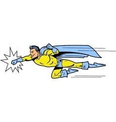 Flying superhero throwing a punch vector image vector image