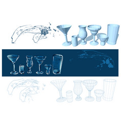 glasses and drinks vector image