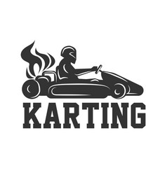 karting logo racing sport car with driver in vector image vector image